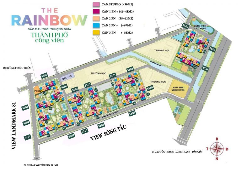 Mặt bằng the rainbow Vinhomes Grand Park quận 9